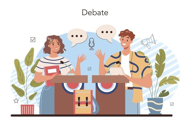 Aula da escola de retórica. alunos treinando oratória e debates públicos