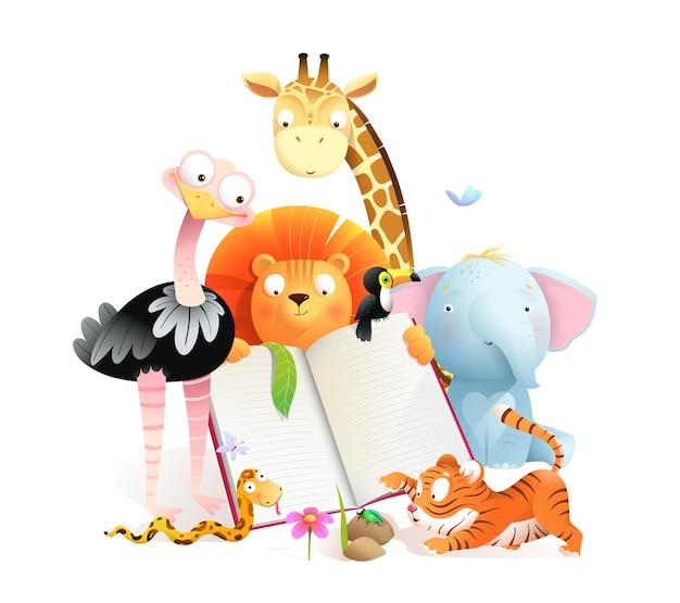 Aula de animais lendo um livro e estudando girafa tigre leão elefante e avestruz animais fofos