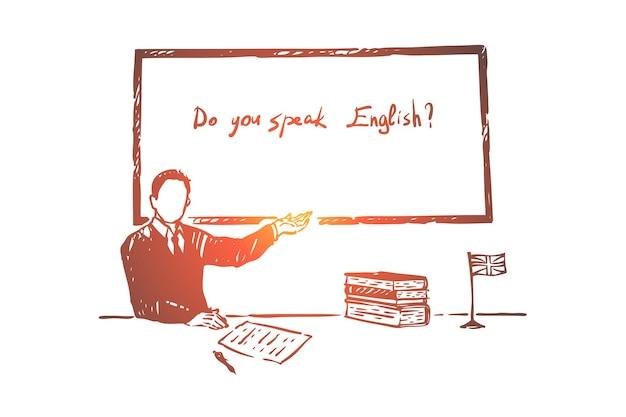 Aula de aprendizagem de línguas estrangeiras, pergunta na ilustração de entrevista de emprego