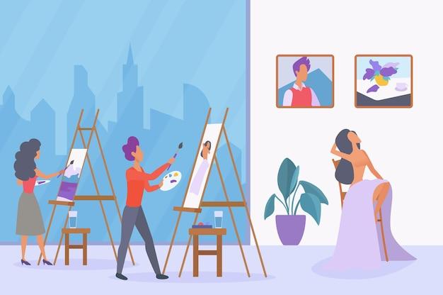 Aula de arte, aula de pintura a óleo e acrílica, desenho de artistas, desenho de modelo feminino em tela