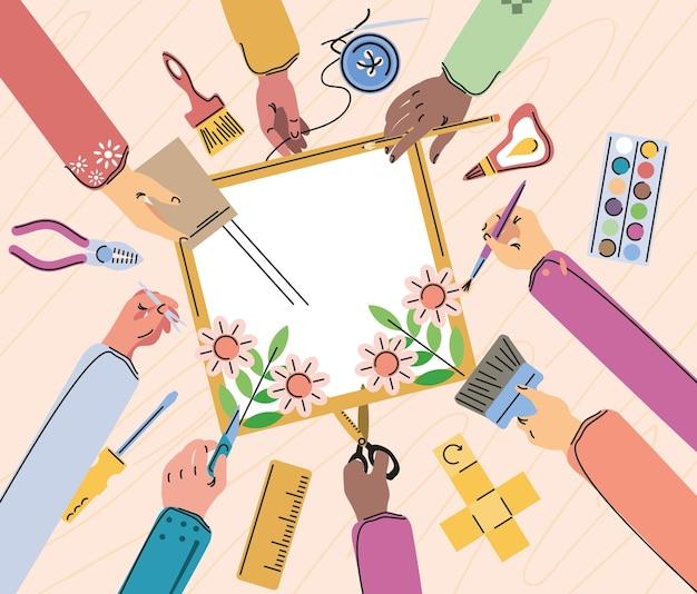 Aula de artesanato, mãos e ferramentas diy