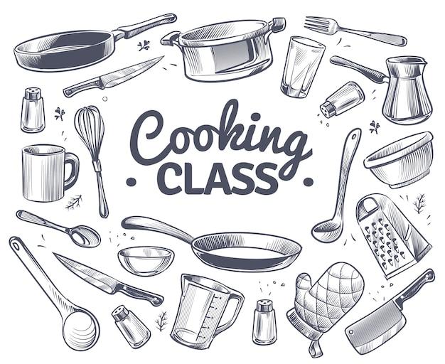 Aula de culinária esboço ferramenta de cozinha utensílios de cozinha faca e garfo para sopa