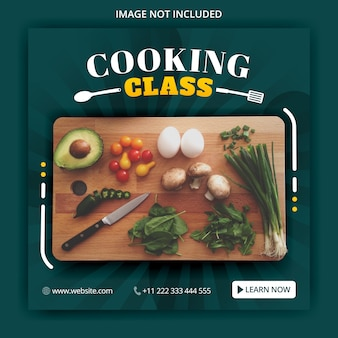 Aula de culinária para postagens de mídia social e modelos de anúncios