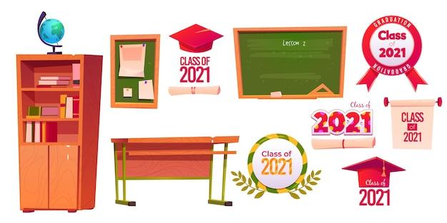 Aula de desenho animado da coleção de rótulos de 2021