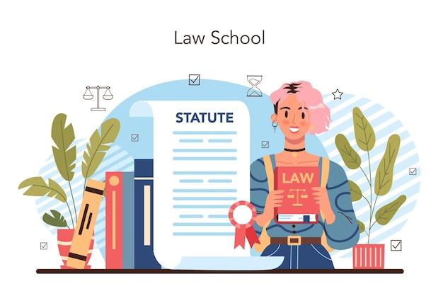 Aula de direito, punição e julgamento, educação, escola de jurisprudência
