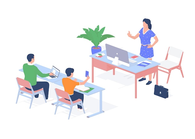 Aula de educação digital em auditório. alunos para carteiras com laptop e smartphone ouvem palestra. professor fala assunto científico. mesa com monobloco para computador. isometria realista vetorial