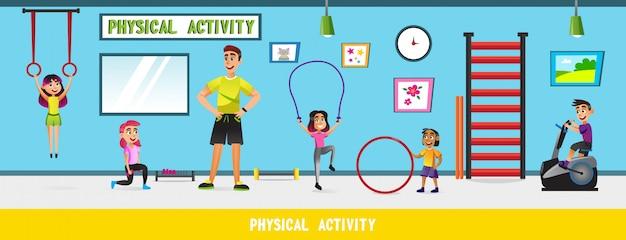 Aula de educação física na escola com crianças.