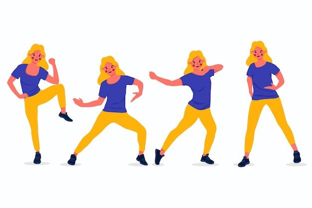 Aula de fitness de dança desenhada à mão plana com pessoas