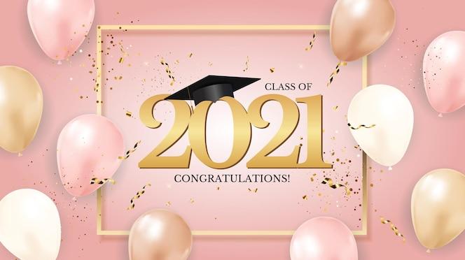 aula de graduação de 2021 com chapéu de formatura e confete