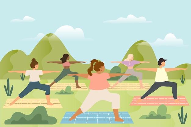 Aula de ioga ao ar livre com colchonetes