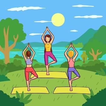Aula de ioga ao ar livre em design plano
