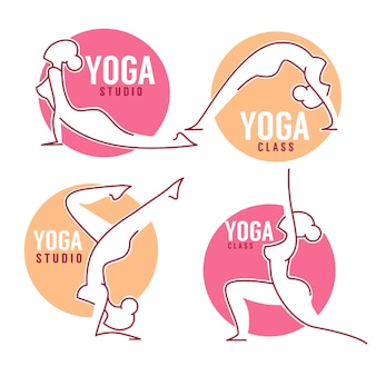 Aula de ioga, mulheres posa para o seu modelo de logotipo, estilo de arte linha