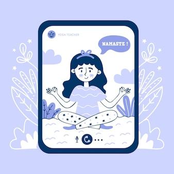 Aula de ioga on-line desenhada de mão