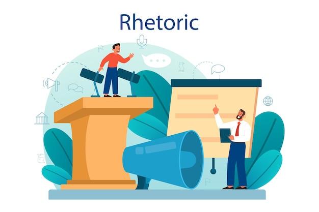 Aula de retórica ou elocução. treinamento de voz e aprimoramento da fala.