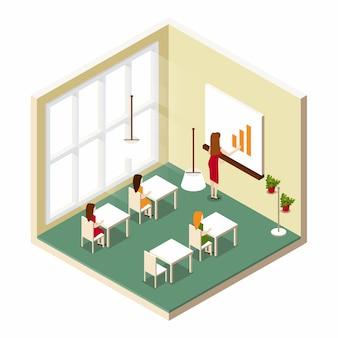 Aula de treinamento em sala isométrica na escola