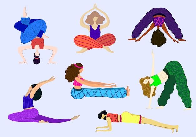 Aula de yoga, exercícios de esportes, garotas praticam ioga