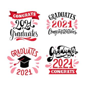Aula desenhada à mão com a coleção de 2021 rótulos de letras