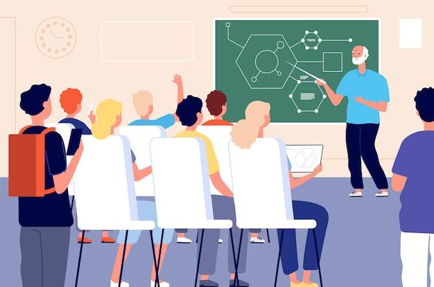 Aula do aluno, aula de treinamento educacional. apresentação do professor ou seminário educacional.