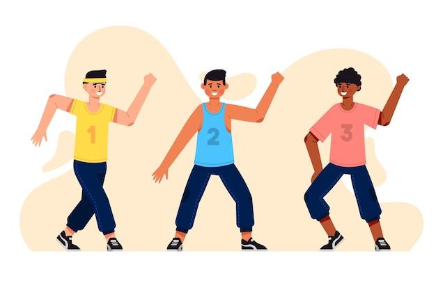 Aula ilustrada de dança plana de fitness