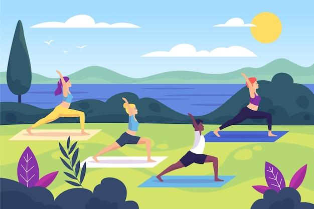 Aula ilustrada de ioga ao ar livre