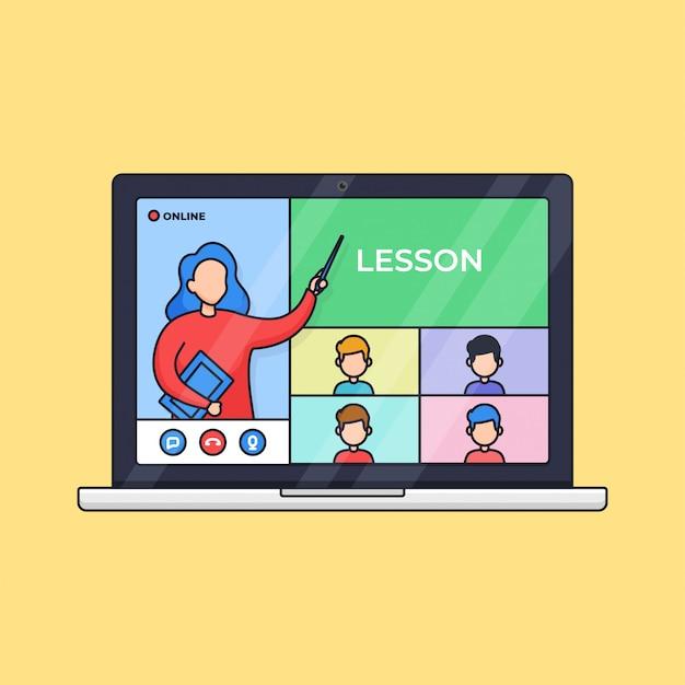 Aula on-line de educação à distância com atividades de videochamada ao vivo, professor e alunos da ilustração do esboço do laptop