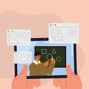 Aula online de geometria para professor masculino