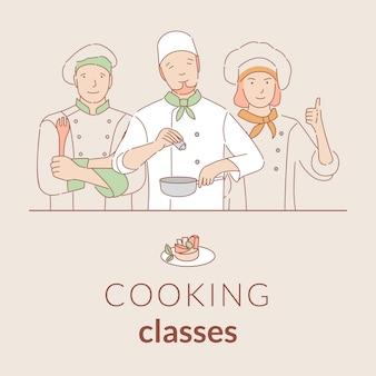 Aulas de culinária banner modelo com espaço de texto. cartaz de contorno dos desenhos animados de cursos de culinária.