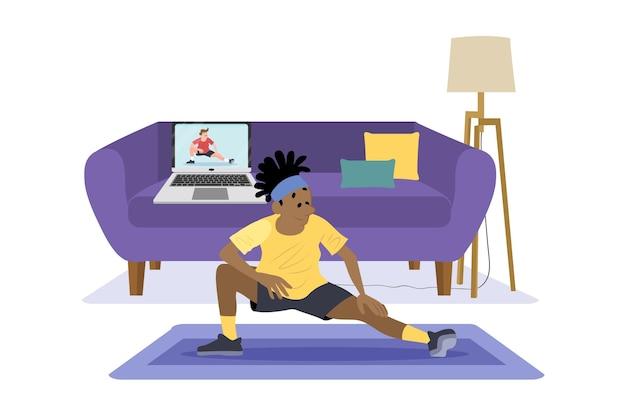 Aulas de esportes online desenhadas à mão plana