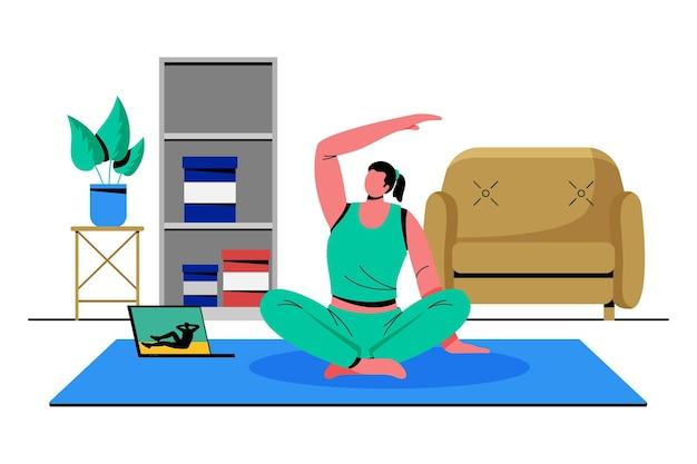 Aulas de esportes online desenhadas à mão