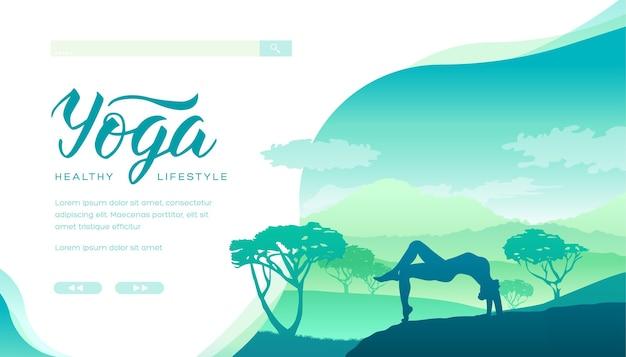 Aulas de ioga ao fundo de magníficas paisagens naturais. uma pessoa medita ao ar livre.