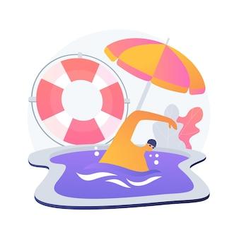 Aulas de natação e salvamento. treinamento de salva-vidas, treinador da equipe de resgate, instrutor de segurança aquática. equipamentos salva-vidas. exercícios de salvadores.