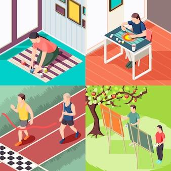 Aulas de pintura de atividade esportiva de educação alternativa e conceito isométrico de métodos de aprendizagem inovadores isolados