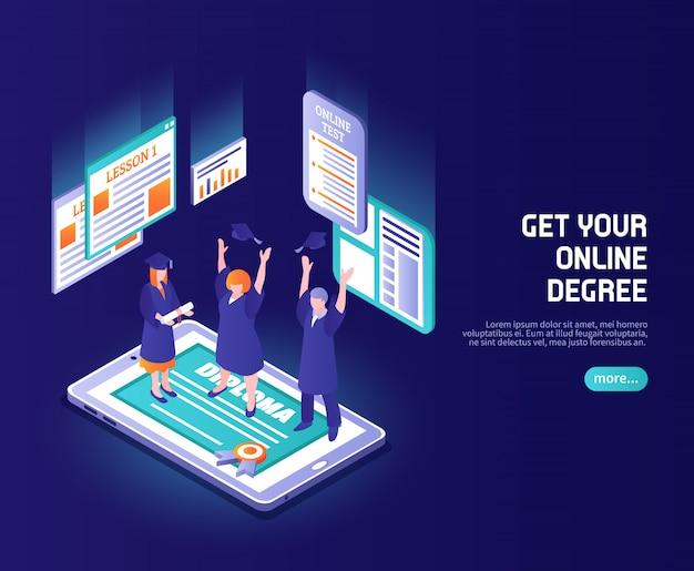 Aulas online cor com pessoas engraçadas em chapéus de magistratura em pé na tela do telefone com legenda de diploma isométrica