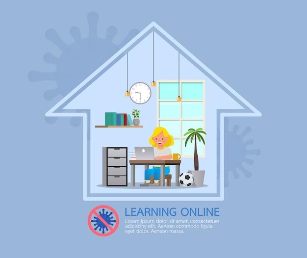 Aulas online de educação a distância para crianças durante o coronavírus. distanciamento social, auto-isolamento e conceito de ficar em casa. número 5