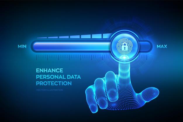 Aumentando o nível de segurança de privacidade. aumente o nível de proteção de dados pessoais. a mão do wireframe está puxando para cima a barra de progresso da posição máxima com o dedo e o ícone de cadeado. ilustração vetorial.