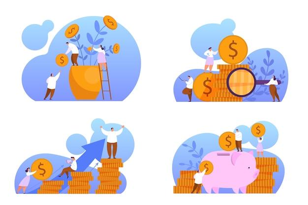 Aumente a receita definida. ideia de crescimento de capital e finanças