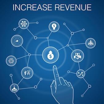 Aumente o conceito de receita, fundo azul. aumente preços, reduza despesas, melhores práticas, ícones de estratégia