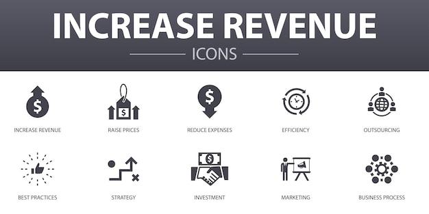 Aumente o conjunto de ícones de conceito simples de receita. contém ícones como aumentar preços, reduzir despesas, melhores práticas, estratégia e muito mais, pode ser usado para web, logotipo, ui / ux