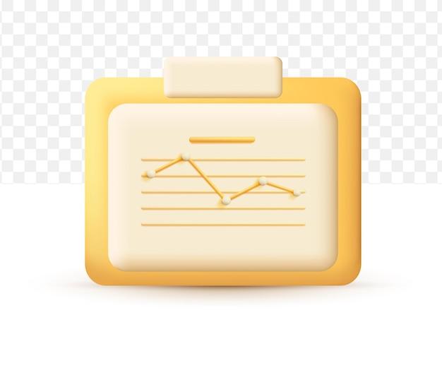 Aumente o crescimento do dinheiro. conceito gráfico de estatísticas amarelo. estilo cartoon fofo 3d realista em fundo branco transparente
