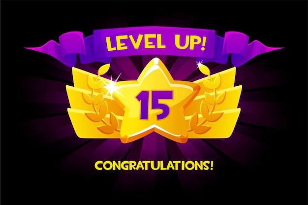 Aumente o nível do ícone de ouro dos desenhos animados de recompensa com a fita do vencedor, elemento de design isolado de iu do aplicativo de jogo