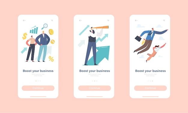 Aumente o seu modelo de tela integrada da página do aplicativo móvel da empresa. personagens de empresários voando com jet pack, olhar na luneta
