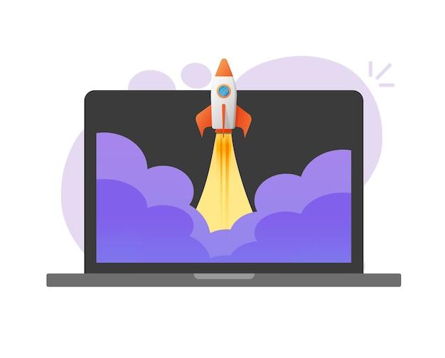 Aumente os negócios de lançamento de foguetes on-line em um laptop