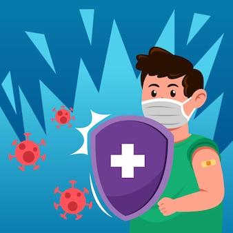 Aumento da imunidade corporal após a injeção da vacina do vírus corona.