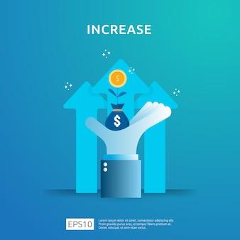 Aumento da taxa salarial de renda. financie o desempenho do conceito de roi de retorno do investimento com seta. receita de margem de crescimento de lucro comercial. ícone de venda de custo. ilustração de estilo plano de símbolo de dólar