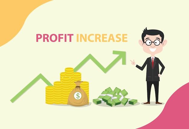 Aumento de lucro com o homem de negócios