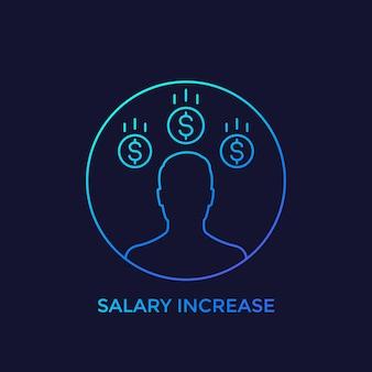 Aumento de salário, ícone linear