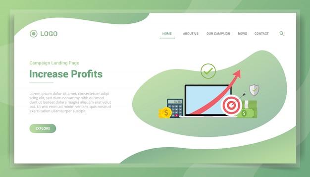 Aumento financeiro do lucro dos negócios para o modelo de site ou a página inicial de destino