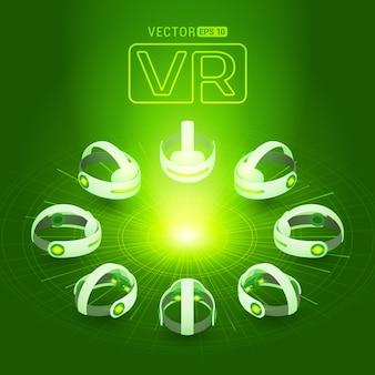 Auricular de realidade virtual isométrica contra o fundo verde-escuro com os círculos abstratos e luz