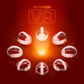 Auricular de realidade virtual isométrica contra o fundo vermelho-escuro com os círculos abstratos e luz