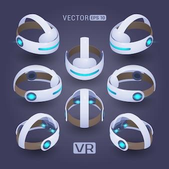Auricular de realidade virtual isométrica contra o fundo violeta-escuro